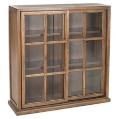 Bring rustic elegance to your library or den with this charming oak-hued bookcase, showcasing 3 shelves and 2 sliding glass doors.  ...