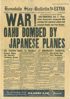 Honolulu Star-Bulletin following the attack on Pearl Harbor.