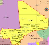Mali is located in West Africa. Niger, Algeria, and Mauritania all surround Mali.