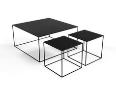 d43c208c852691 Ensemble table basse carrée en métal L90 cm + bouts de canapé L42xP42cm  TALK 2 Table