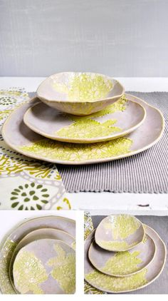 Lee Wolfe Pottery — Dinnerware 3 pc place setting Modern Lace gray and chartreuse