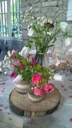 Centre de table lors de mon mariage le 25 Juin 2016