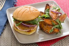 Fried Green Tomato Burgers with Miso-Dressed Sweet Potato Salad. Visit https://www.blueapron.com/ to receive the ingredients.