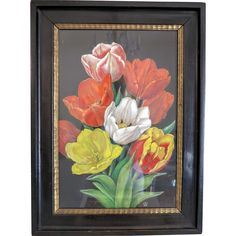 Painting of a colorful bunch of Tulips, tempera on parchment, ca. 1940 from chateau on Ruby Lane Antique Art, Antique Silver, Vintage Antiques, Tempera, Painting & Drawing, Tulips, Folk Art, Abstract Art, Colorful
