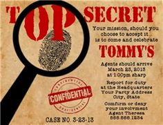 Personalized Detective Mystery Magnifying Glass Birthday Party Invitations
