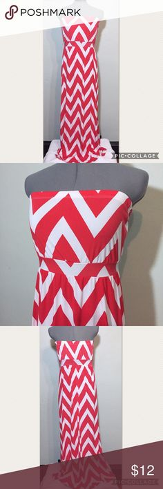 """Red & White Chevron Strapless Maxi Dress Charlotte Russe Red & White Chevron Strapless Maxi Dress. In good condition. Size S measures flat: 13-20"""" across elastic top, 14-16"""" across empire waist, 22"""" across hips, 48"""" long. 92% poly, 8% spandex. FCt/060717 Charlotte Russe Dresses Maxi"""