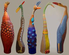 Ceramic bird garden sculptures