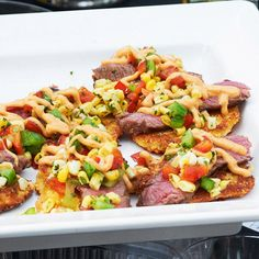 NY Strip with Grilled Corn Salad Hoe Cake