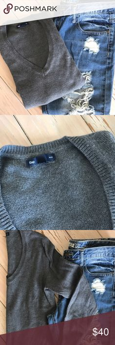 Gap Luxe Angora Sweater Super flattering v-neck sweater. Size small. Also available in navy. GAP Sweaters V-Necks