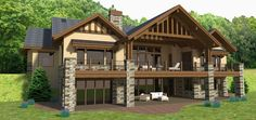 The back side of Architectural Designs House Plan 64413SC. Over 3,500 square feet of living on one level plus an optional finished lower level. Ready when you are. Where do YOU want to build?