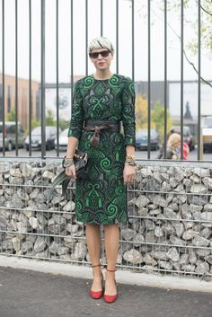 What to wear to work: A Print Shift Dress, a Wide Belt, and Ankle-Strap Heels