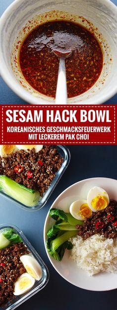 Koreanische Sesam Hack Bowl mit Pak Choi // Aromatisch & lecker // Knabberkult.de