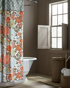 Coral Garden Bathroom, from Garnet Hill, bathroom shutters. All soft colors....except shower curtain...