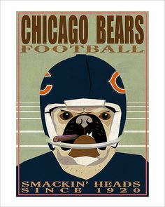 Don't mess with Chicago natives and their sports teams. This cigar-smoking pug is a perfect touch for any man cave or family room during football season.