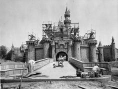 Disneyland Castle In The Building In The 1950's