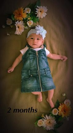 Baby monthly picture. Two months old baby photograph. Baby Sonia at 2 months in denim dress.