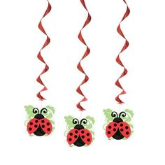 One package of 3 Lively Ladybugs Hanging Swirl Party Decorations. Each ladybug cutout dangles on a pretty red metallic swirl. Ladybug Party Supplies, Fancy Baby Shower, Buy Ladybugs, Ladybug Garden, Ladybug Costume, Ladybug Crafts, Thing 1, Party Packs, Birthday Party Decorations