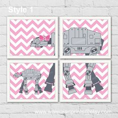 AT-AT Star Wars Nursery Art Prints. Girl by waiwaiartprints