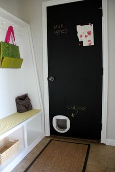 Cat door, litter box in garage. Can we just give her a dryer duct tunnel to the detached garage lol?