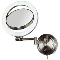 Zadro Surround Lighted Hardwired 15 in. L x 9.5 in. W Wall Mirror in Satin Nickel-SLW410HW - The Home Depot