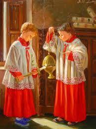 jose llul  Altar boys preparing for High Mass.