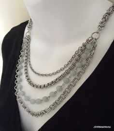 Multistrand Chainmaille Necklace Aluminum by JSWMetalWorks, $115.00