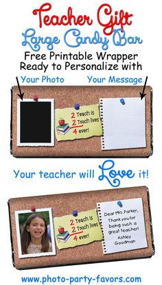 Sweet Teacher Gift - Personalize these DIY large (5 oz) free, printable chocolate bar wrappers with your photo and message. Easy craft to make for teacher! More printables and other party stuff at http://www.photo-party-favors.com/ Chocolate Bar Wrappers, Chocolate Bars, Candy Bar Wrappers, Personalized Chocolate, Personalized Teacher Gifts, Candy Bar Crafts, Candy Bar Sayings, Easy Crafts To Make, Volunteer Gifts