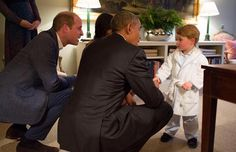 Schattig: prins George ontmoet president Obama (in pyjama )