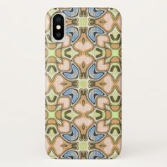Orange Coral Pink Pastel Blue Nouveau Deco Pattern iPhone X Case - classy gifts custom diy personalize