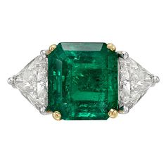 5.32 Carat Colombian Emerald Diamond Platinum Ring | See more rare vintage Three-Stone Rings at https://www.1stdibs.com/jewelry/rings/three-stone-rings