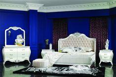 高級ベッド 、 レプリカ張り ベッド 、 イタリア スタイル古典的な寝室の家具セット 0402-6015A