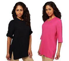 Denim & Co. Set of 2 Oversized Tunic Cotton T-shirts S 6.72 QVC Price: $36.72