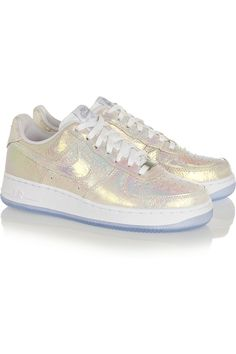Nike | Air Force 1 iridescent leather sneakers | NET-A-PORTER.COM