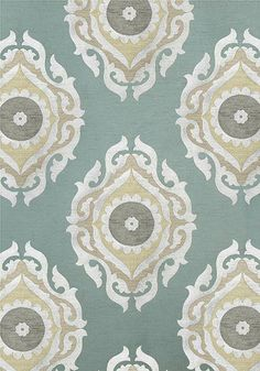 French Suzani woven fabric in Duck Egg. Thibaut
