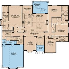 Ranch House Plans, House Floor Plans, European Plan, European Style, European House, French Country House Plans, French Style Homes, Safe Room, Traditional House Plans