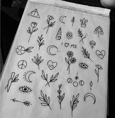 atemberaubende, kleine Tattoos: Inspiration & Ideen - verschiedene Tattoo-Symbole Exactly what pre-inked postage stamps? Mini Tattoos, Little Tattoos, Trendy Tattoos, Cute Tattoos, Body Art Tattoos, New Tattoos, Tatoos, Tattoo Drawings, Cute Finger Tattoos