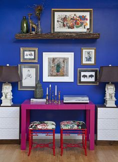 Wall paint: Brillant Blue, Olympic; pink desk: West Elm, painted in Very Berry, Glidden; side tables: Rast, Ikea, painted