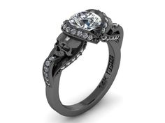 Secret Skull Engagement Ring- 14K Solid Black Gold with 1 ct Mossiante Ctr with white side dia- UDINC0427