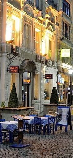 Bucharest street cafe scene. Romania.