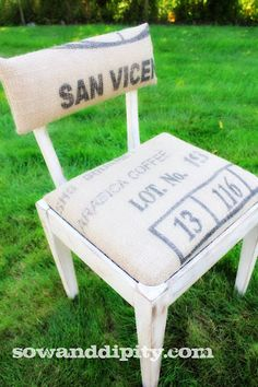 Old sewing chair covered with coffee bean sacks
