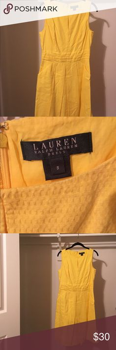 Ralph Lauren Dress, Yellow Gorgeous Canary yellow Ralph Lauren dress with pockets!!! Worn only once and then had it dry cleaned. I'm perfect condition, but it no longer fits which makes me sad. It needs a new home!!! Lauren Ralph Lauren Dresses Midi