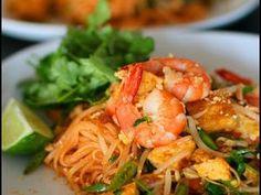 Recette  Pâtes de riz sautées aux crevettes à la thaïlandaise