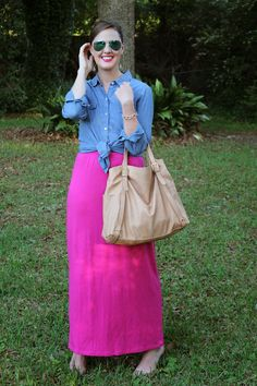 Chambray shirt and pink maxi via With Style and a Little Grace