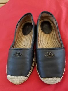 e6ed699f6ef Coach Rhodelle Womens Espadrilles Black Lambskin Leather Shoes Size 8.5 B  used  fashion  clothing