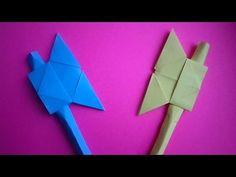 оригами алебарда.как сделать из бумаги боевой топор // Origami halberd.how to make a paper battle ax - YouTube