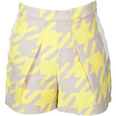 Timo Weiland Alexa Short ($151) ❤ liked on Polyvore featuring shorts, bottoms, pants, short, timo weiland, neon yellow shorts, houndstooth shorts, jacquard shorts and oversized shorts