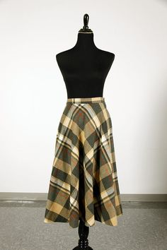 Vintage 70's plaid wool mid-calf skirt in natural - size M by piscesvintage, $24.00