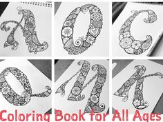 Floral Letters Coloring Book