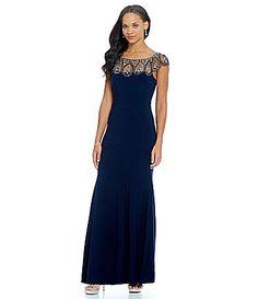 Xscape Beaded Neckline Cap Sleeve Gown #Dillards