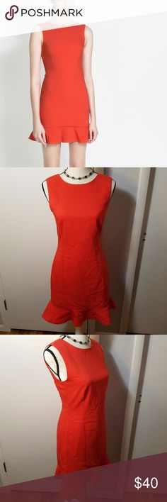 """Zara Tube Dress with Ruffle in Orange w/ V Back Excellent pre-owned condition. No damages, stains, or wear. Form fitting tube dress, ruffle at the bottom. Measurements are in the picture. Cotton polyester elastane blend, not really stretchy. Liner layer inside. V in the back has a 10"""" drop, zips below it. Zara Dresses Mini"""